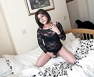Kirsty is all alone and playing with her hard cock until she cums