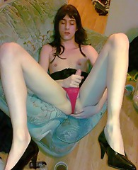 This hardcore crossdresser loves to play with his cock and suck hard dick when he can.