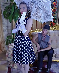 Gloved sissy-lady leaves her umbrella for kinky sex with a horny gay gent