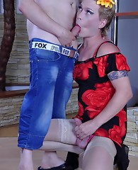 Smoking hot sissy plays the top fucking the mouth and ass of his gay lover