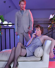 Gay boss makes his sexy sissified secretary smoke his cock and take it up