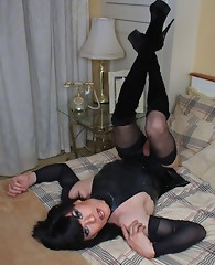 Slutty Zoe wearing all black sexy lingerie and stocking set