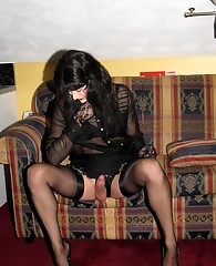 Horny bitch Yvette showing off her stocking covered legs and feet