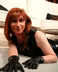 Lucimay in black pvc top and hot black stockings