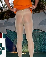 Nylon lover wearing pantyhose showing off his holiday shots