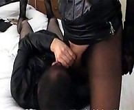 This sissy slut loves to lick and kiss Yvette's sexy nylon covered feet