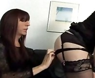 Slutty Karen pulls down a trannies panties and sucks her cock