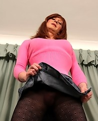 Lucimay pulls up her tiny skirt and shows off her hard cock