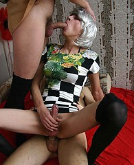 Naughty crossdressing sluts have a dirty threesome and orgy